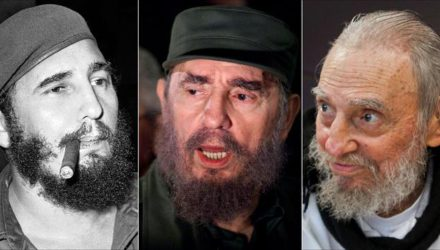 This combo of three file photos shows Fidel Castro, from left; smoking a cigar in Havana, Cuba, April 29, 1961; speaking to the media while on a mission to collect Elian Gonzales in Washington, D.C., April 6, 2000; and at his Havana home on Feb. 13, 2016. The man who nationalized the Cuban economy and controlled virtually every aspect of life on the island celebrates his 90th birthday on Saturday, Aug. 13, 2016, in a far different country than the one he ruled for decades. (AP Photos/Files)