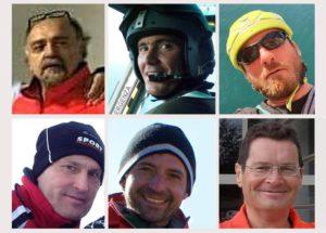 Le vittime dell'elisoccorso schiantatosi in Abruzzo. Da sx, alto, in senso orario: Giuseppe Serpetti, Giammarco Zavoli,
